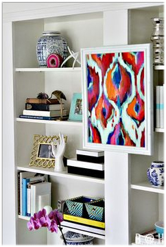 art on bookcase
