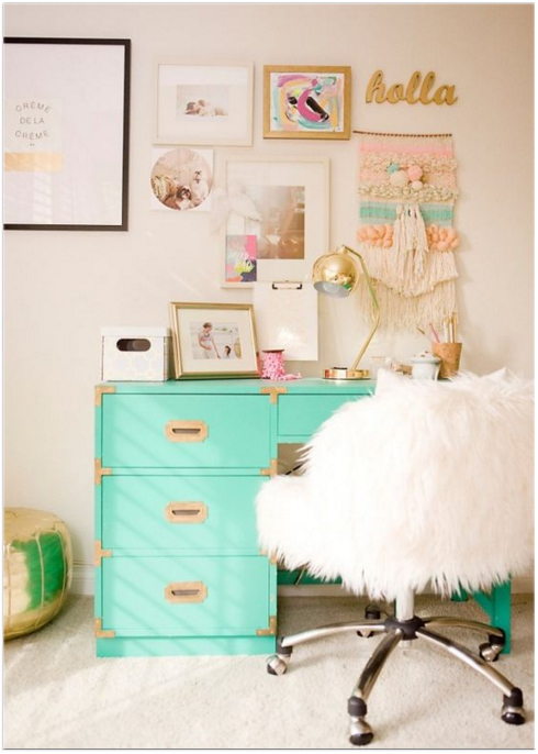 mint green desk