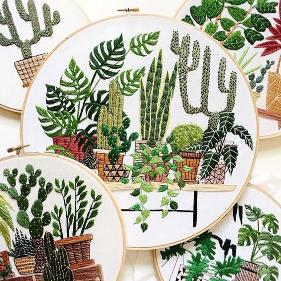plants embroidery