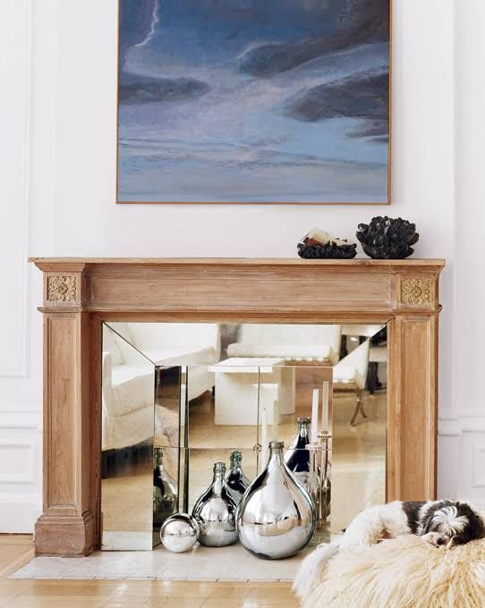 mirror in fireplace