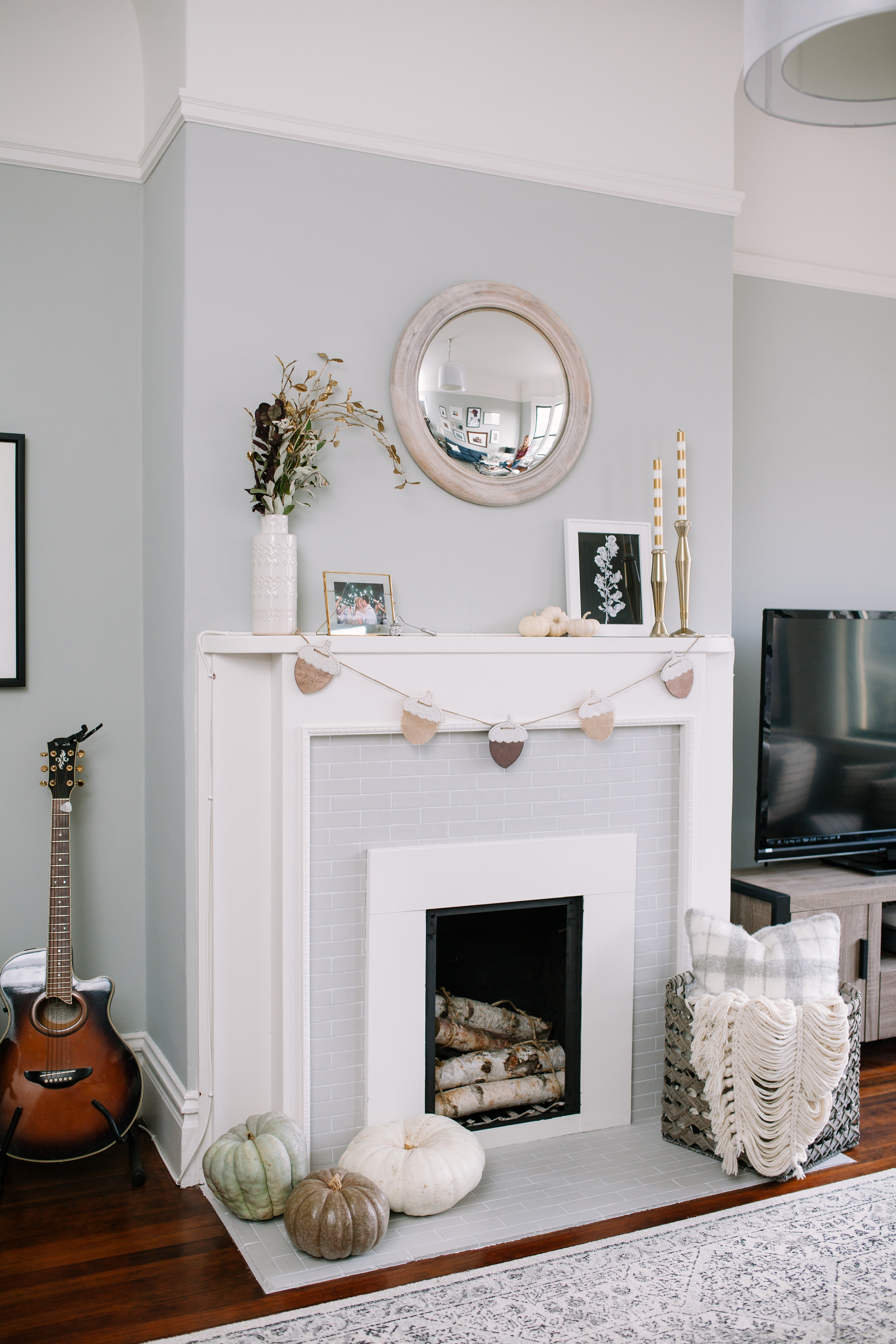 DIY: Painted Tile on a Fireplace (non-working) Makeover ...