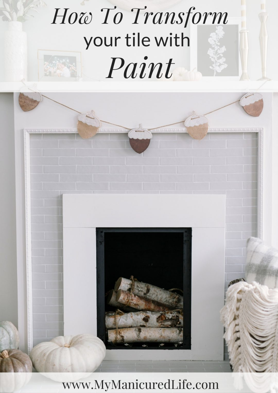 Diy Painted Tile On A Fireplace Non Working Makeover
